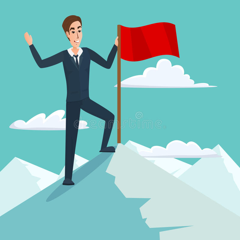 Uomo d'affari con la bandiera sul picco, sul successo e sulla missione di montagna illustrazione di stock