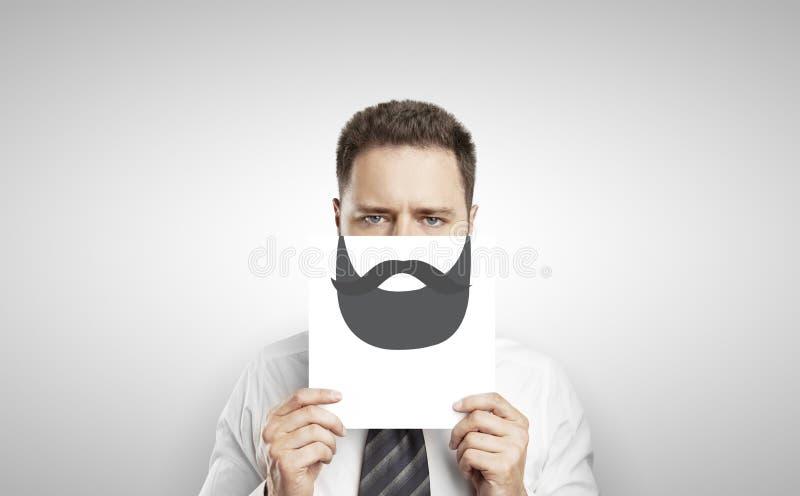 Uomo d'affari con la barba del disegno fotografia stock