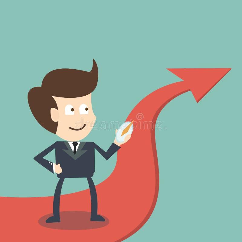 Uomo d'affari con la bussola su successo di direzione della freccia - affare c royalty illustrazione gratis