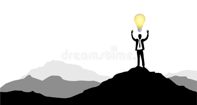 uomo d'affari con la grande idea sul picco di montagna illustrazione vettoriale