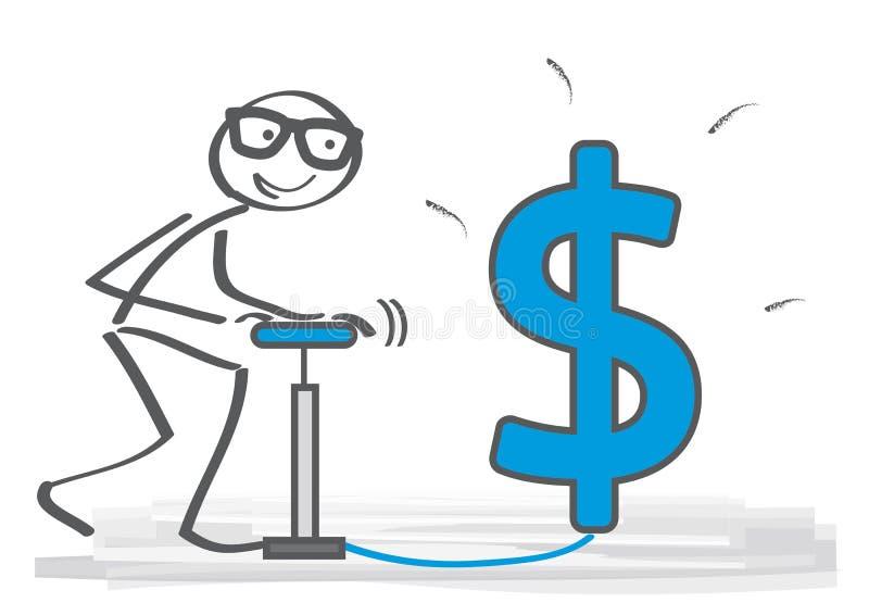 Uomo d'affari con la pompa di aria che guarda al futuro dollaro s di crescita illustrazione di stock