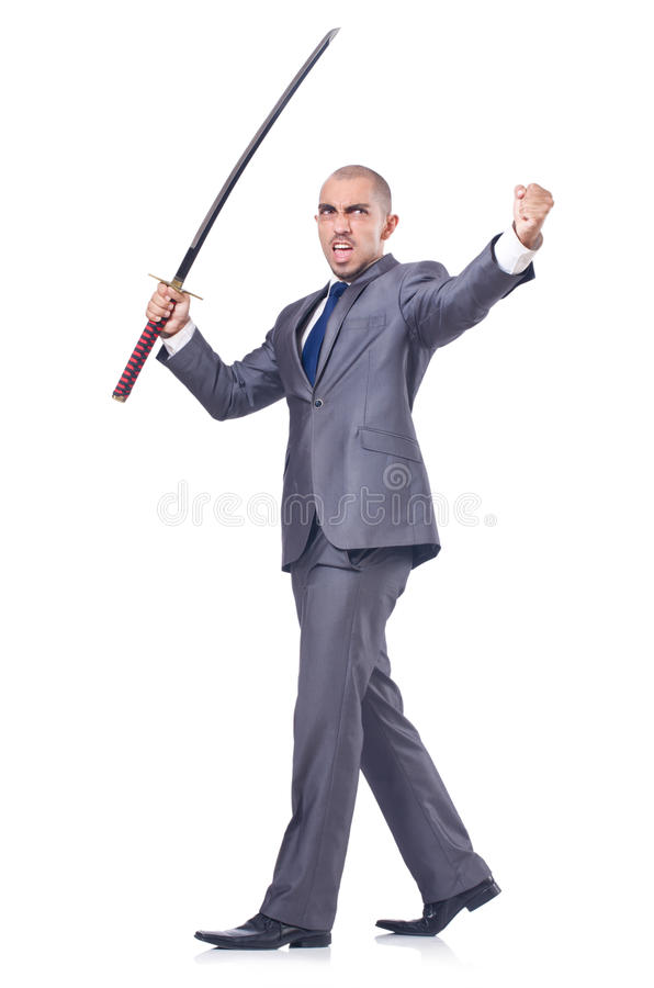 Uomo d'affari con la spada fotografia stock libera da diritti