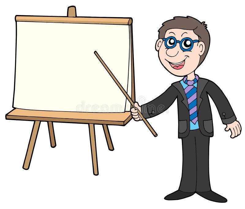 Uomo d'affari con la tabella royalty illustrazione gratis