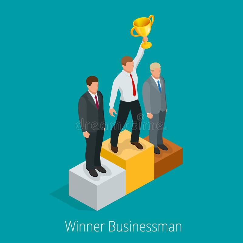 Uomo d'affari con la tazza del vincitore Concetto del vincitore Uomo d'affari sulla mano in aumento del primo piedistallo del pos illustrazione vettoriale