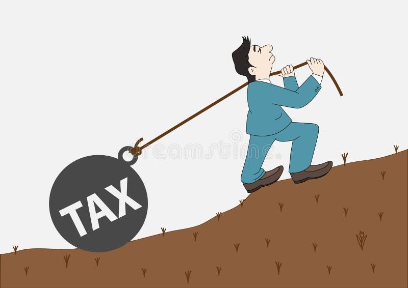 Uomo d'affari con la trazione della tassa della palla dell'onere gravoso royalty illustrazione gratis