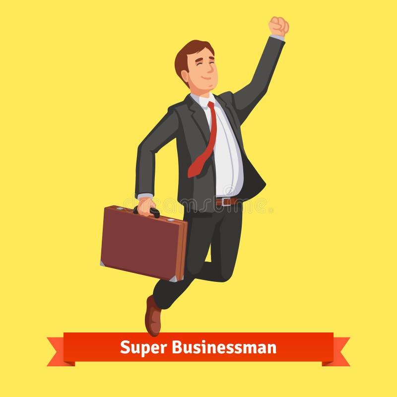 Uomo d'affari con la valigia che celebra il suo successo illustrazione vettoriale