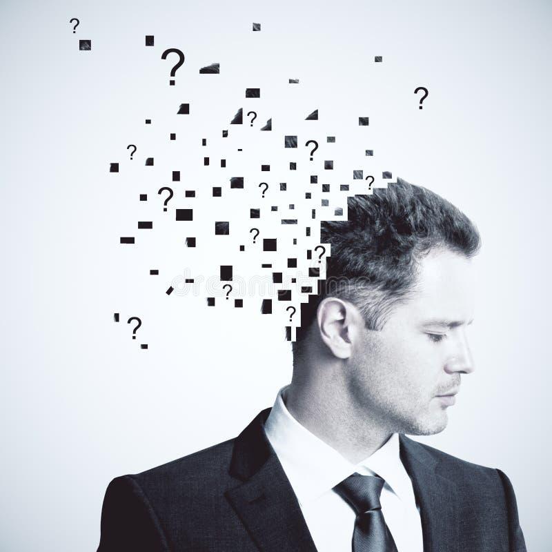 Uomo d'affari con le domande immagini stock libere da diritti
