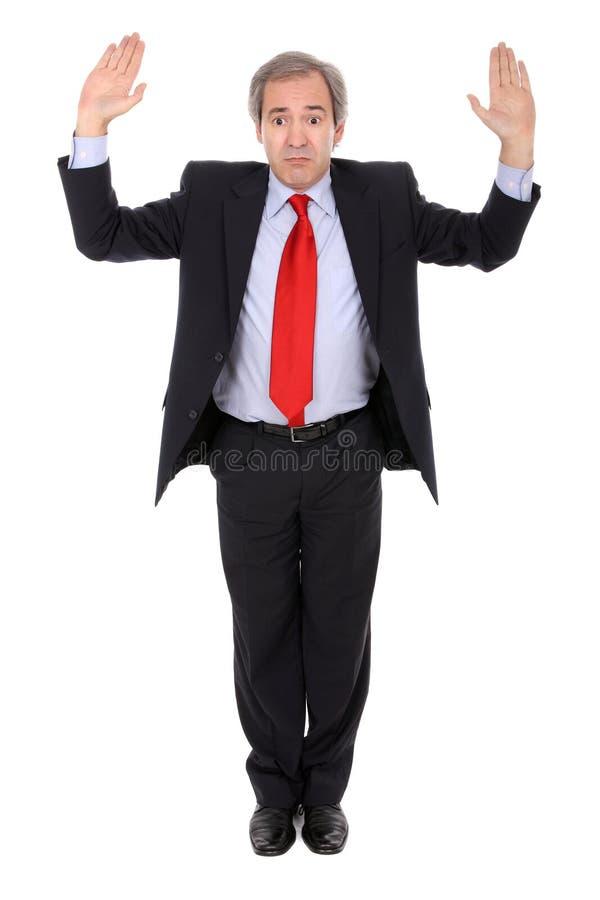 uomo d'affari con le mani in su fotografia stock