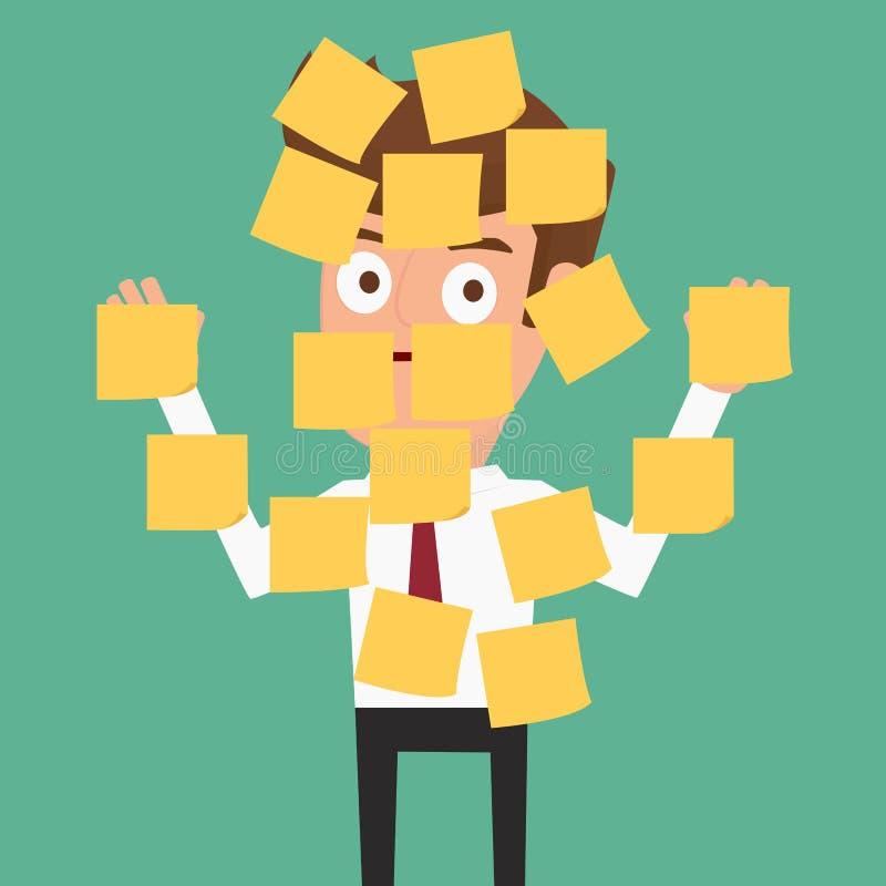 Uomo d'affari con le note appiccicose da ogni parte di lui illustrazione di stock