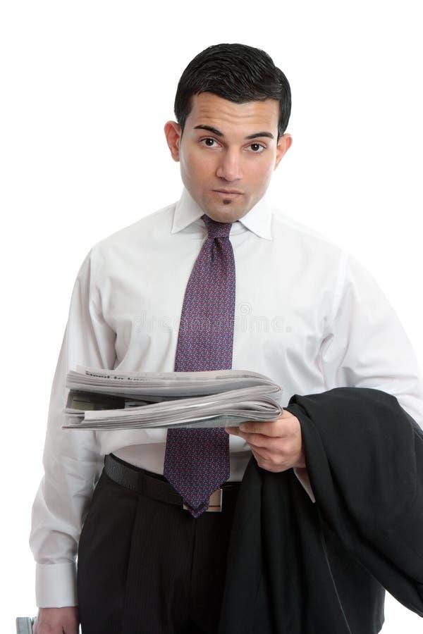 Uomo d'affari con le notizie finanziarie fotografie stock libere da diritti