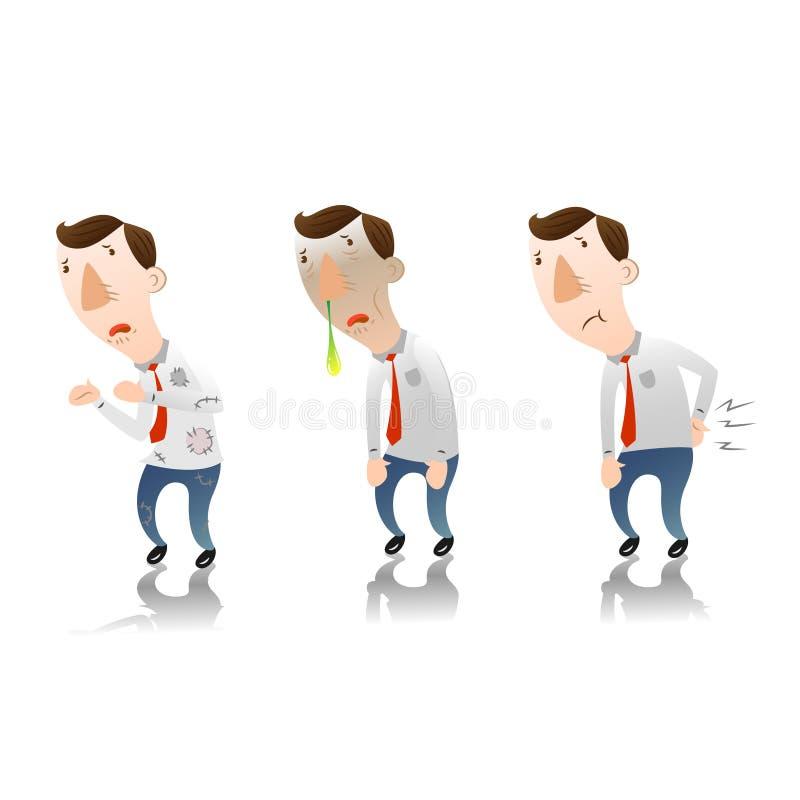 Uomo d'affari con Male di tatto illustrazione di stock