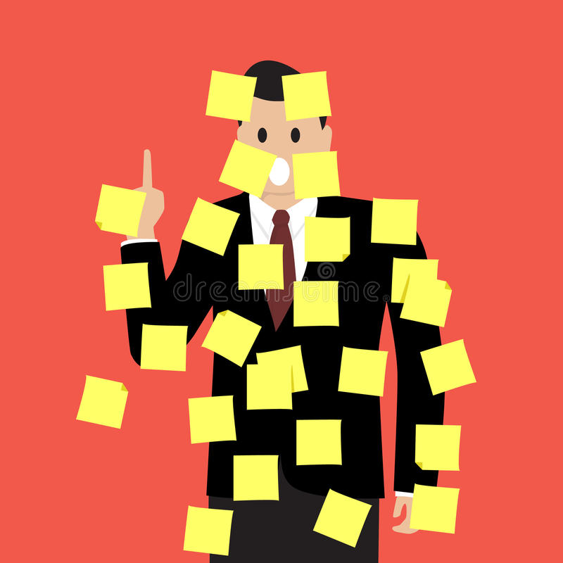 Uomo d'affari con molte note appiccicose royalty illustrazione gratis