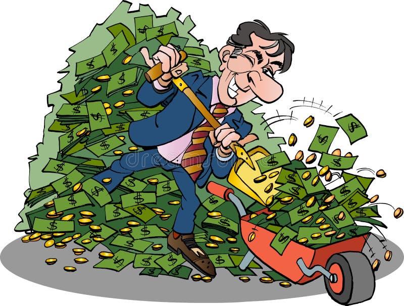 Uomo d'affari con molto soldi facili illustrazione di stock
