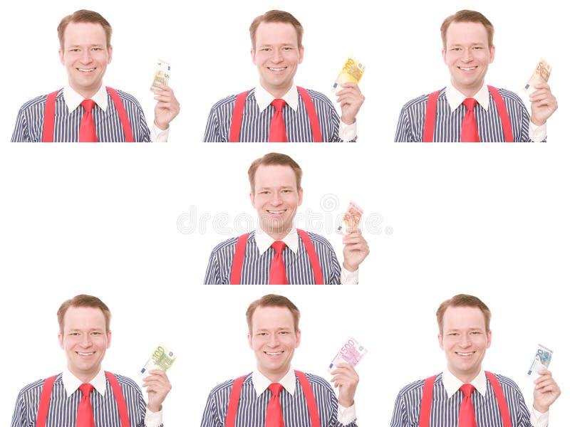 Uomo d'affari con tutte le euro banconote fotografia stock
