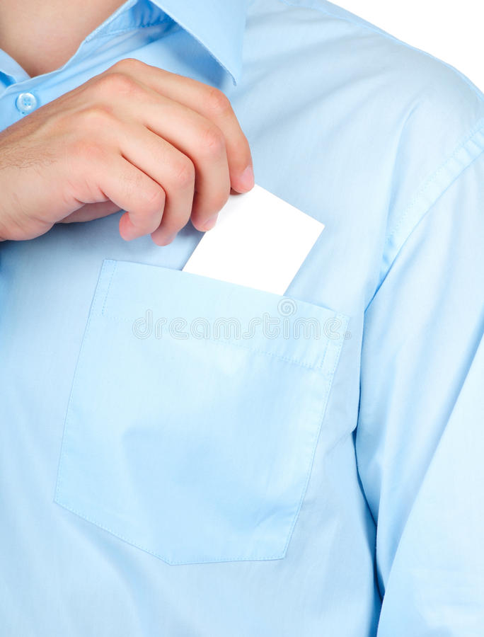 Uomo d'affari con un biglietto da visita in bianco immagini stock libere da diritti