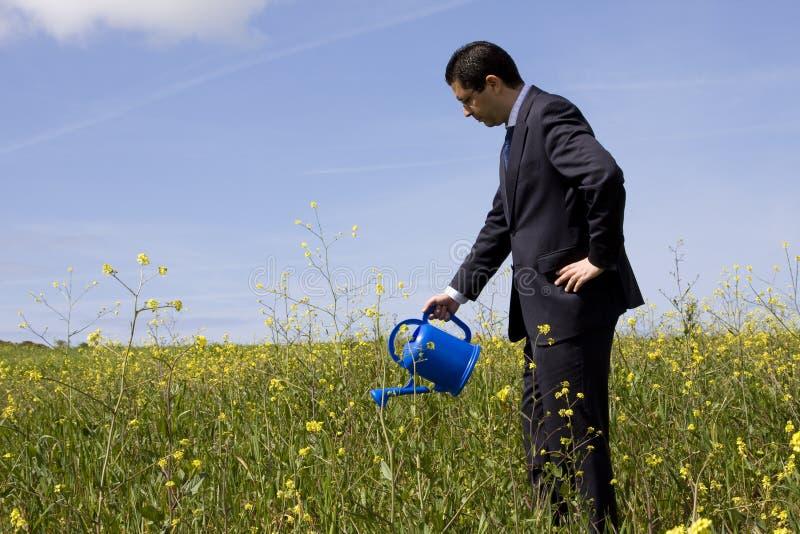 Uomo d'affari con un flowerpot immagine stock