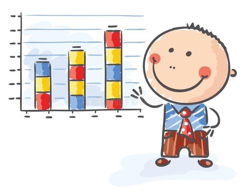 Uomo d'affari con un grafico crescente illustrazione vettoriale
