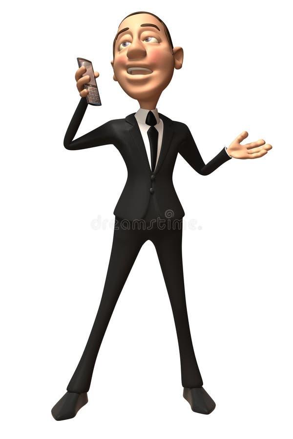 Uomo d'affari con un telefono mobile royalty illustrazione gratis