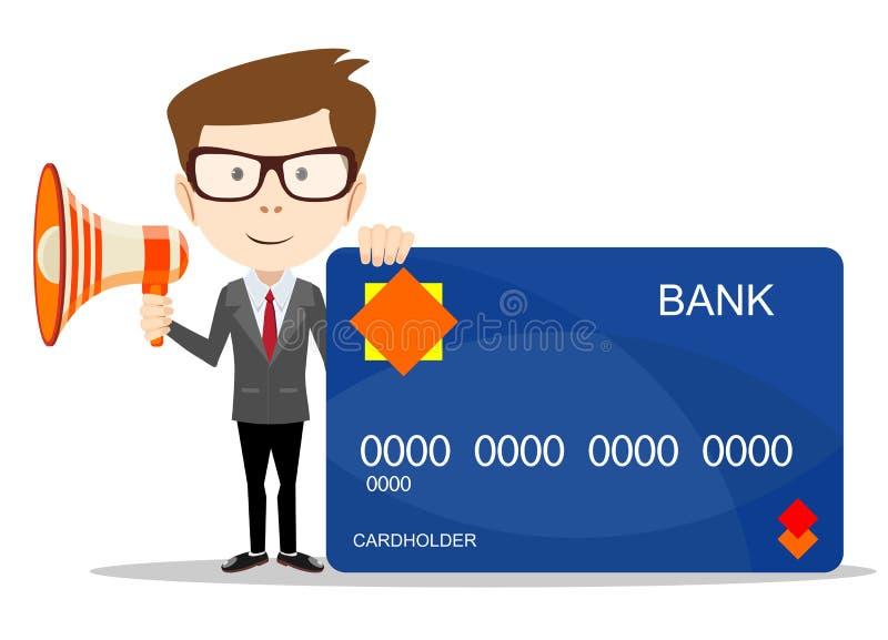 Uomo d'affari con una carta di credito della plastica e del megafono Profitto, concetto di finanze illustrazione vettoriale