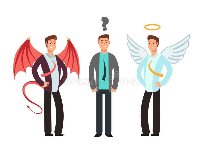 Uomo d'affari confuso con l'angelo e diavolo sopra le spalle Scelga il concetto di vettore illustrazione vettoriale