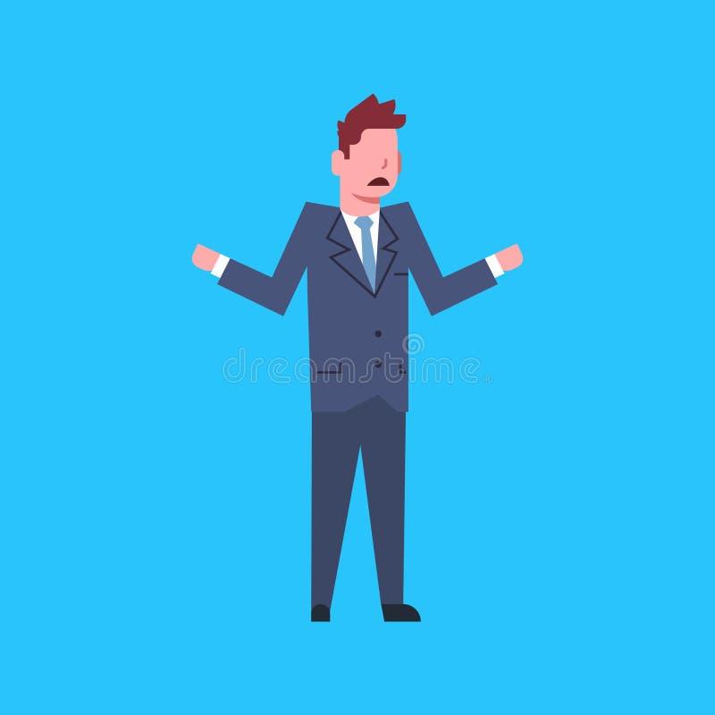 Uomo d'affari confuso Stressed Isolated del carattere dell'impiegato di concetto dell'uomo di affari illustrazione di stock