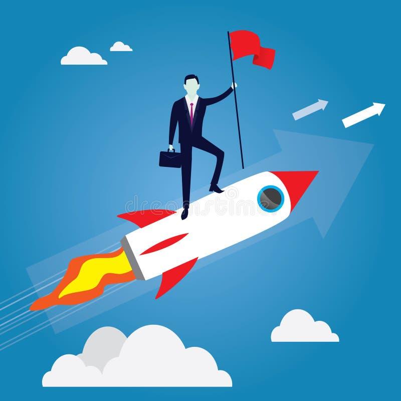 Uomo d'affari Conquer Obstacle, Rocket Startup Concept di guida illustrazione di stock