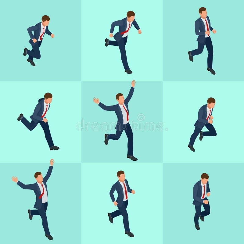 Uomo d'affari corrente isometrico stabilito Uomo d'affari Man su fondo bianco Pose isometriche del carattere La gente del fumetto illustrazione vettoriale