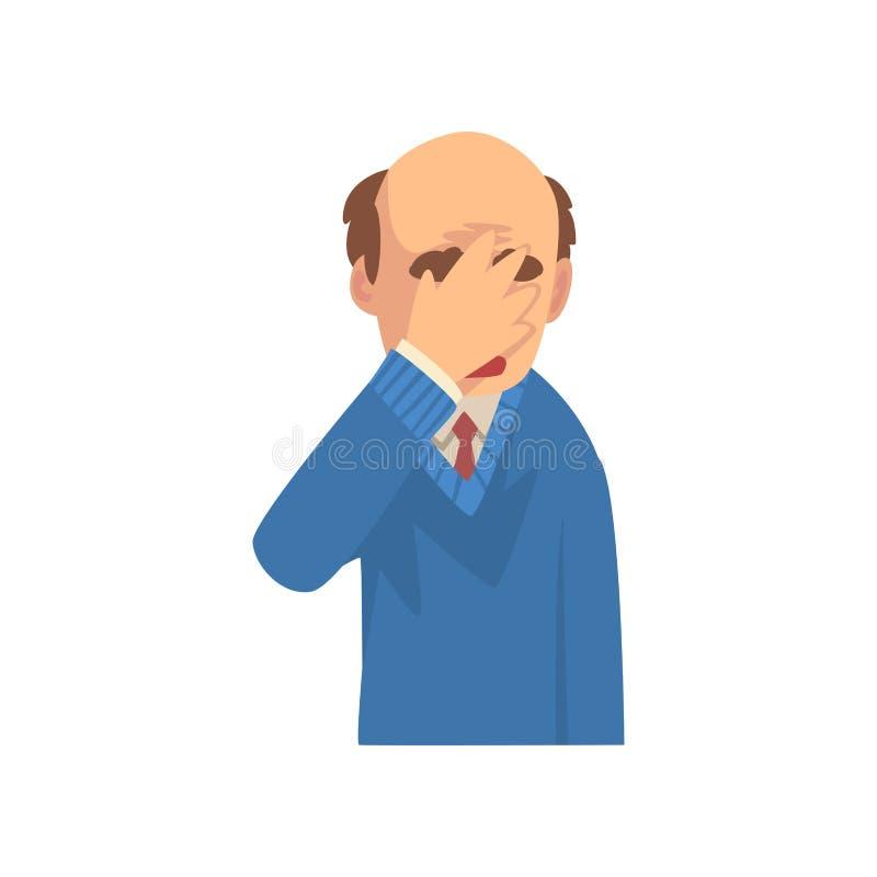 Uomo d'affari Covering His Face con la mano, uomo calvo in vestito che fa gesto di Facepalm, vergogna, emicrania, delusione illustrazione vettoriale
