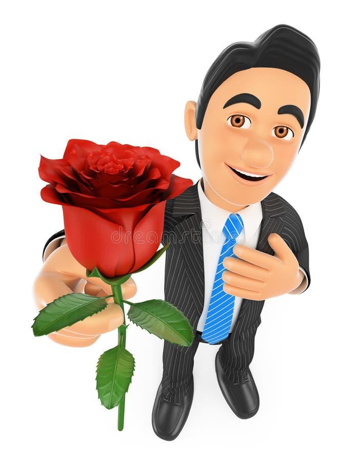 uomo d'affari 3D che dà una rosa rossa con la mano su cuore Concep di amore illustrazione vettoriale