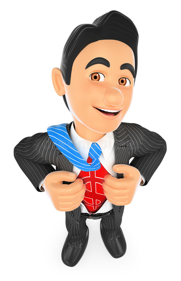 uomo d'affari 3D che deruba la sua camicia con il segno dei soldi illustrazione di stock