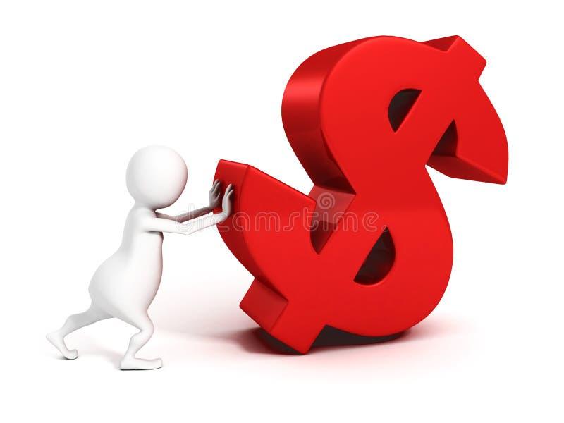 uomo d'affari 3d che spinge simbolo di valuta rosso del dollaro illustrazione vettoriale