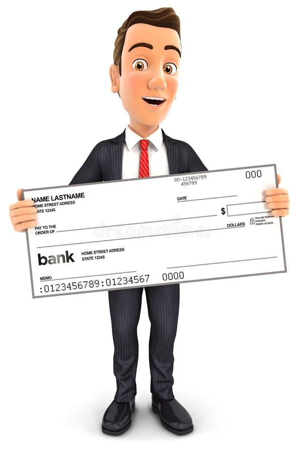 uomo d'affari 3d che tiene grande assegno bancario illustrazione di stock