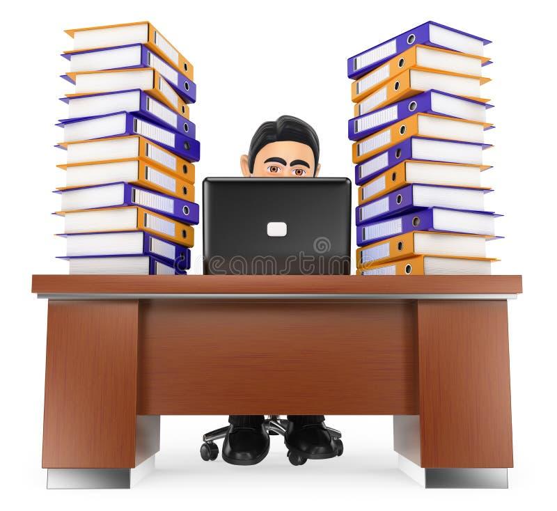 uomo d'affari 3D nell'ufficio con molto lavoro da fare illustrazione di stock