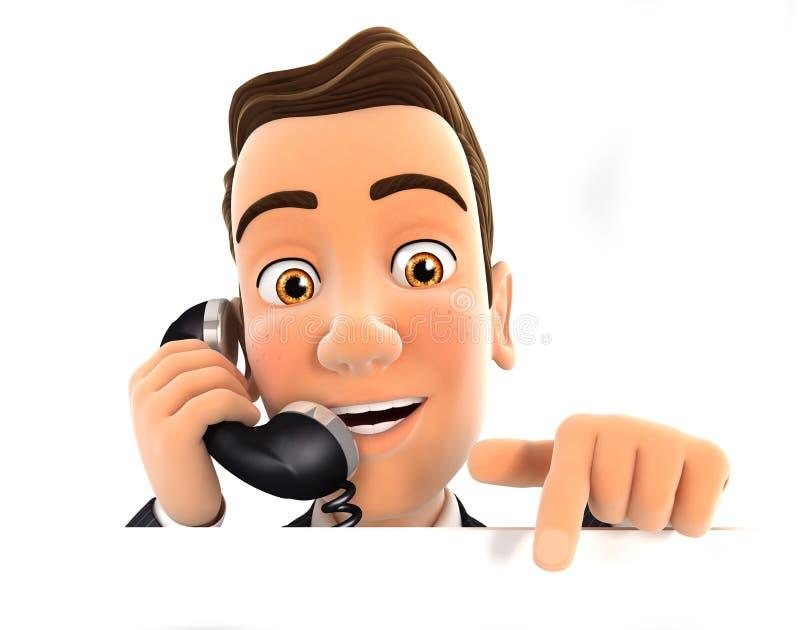 uomo d'affari 3d sul telefono ed indicare la parete vuota illustrazione di stock