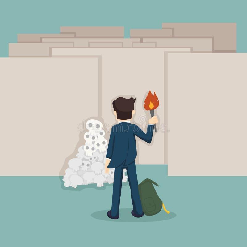 Uomo d'affari davanti a labirinto illustrazione di stock
