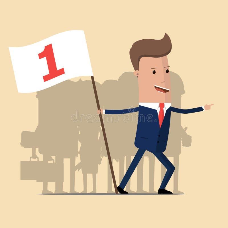 Uomo d'affari del capo che tiene a disposizione bandiera che mostra riuscita direzione al suo gruppo illustrazione vettoriale