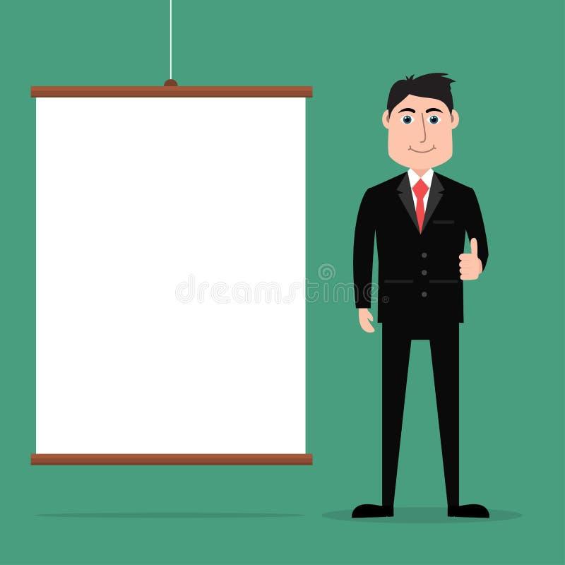 Uomo d'affari del fumetto che dà i pollici su con il bordo di presentazione illustrazione di stock