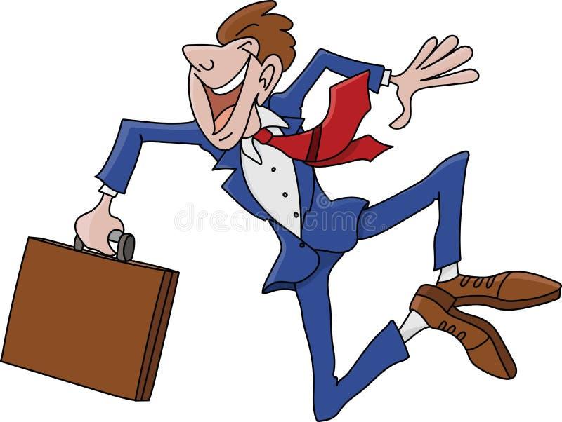 Uomo d'affari del fumetto che indossa un vestito che salta nell'aria felice di essere vettore promosso illustrazione vettoriale