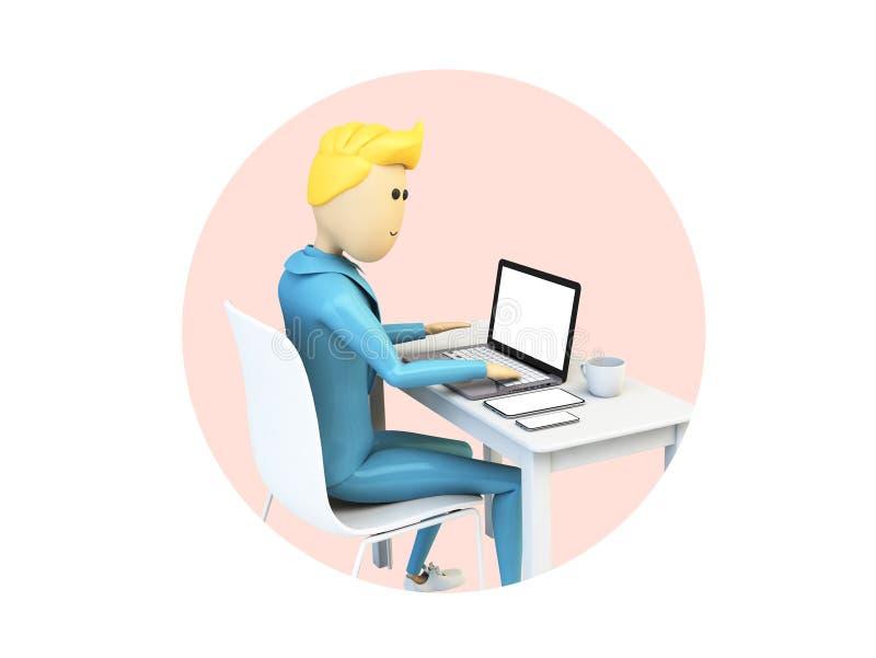 Uomo d'affari del fumetto che lavora con i dispositivi isolati illustrazione di stock