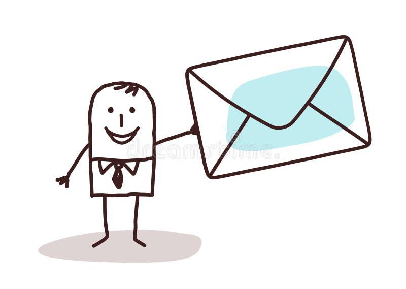 Uomo d'affari del fumetto che tiene un enveloppe della posta illustrazione vettoriale