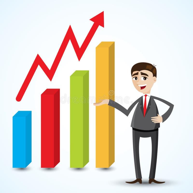 Uomo d'affari del fumetto con il grafico crescente illustrazione di stock
