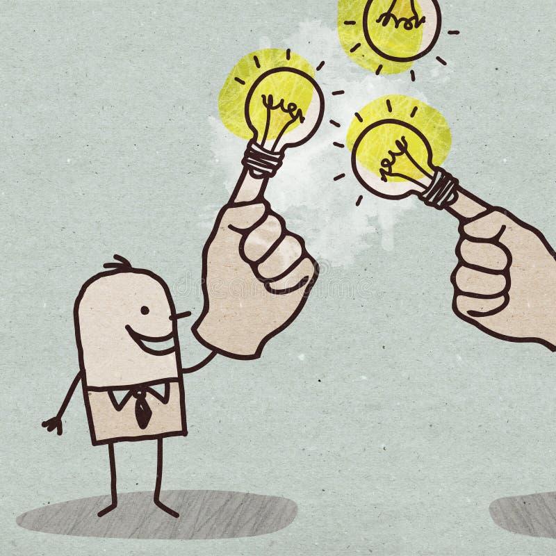 Uomo d'affari del fumetto con la lampadina sul dito royalty illustrazione gratis