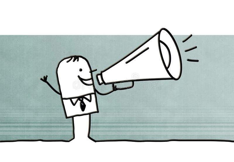 Uomo d'affari del fumetto con un megafono royalty illustrazione gratis