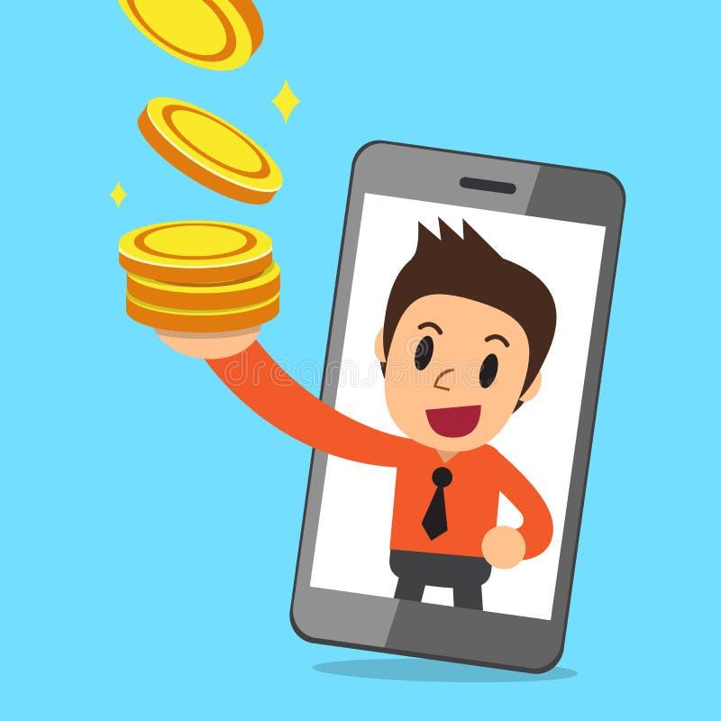 Uomo d'affari del fumetto di vettore e soldi dei guadagni dello smartphone royalty illustrazione gratis