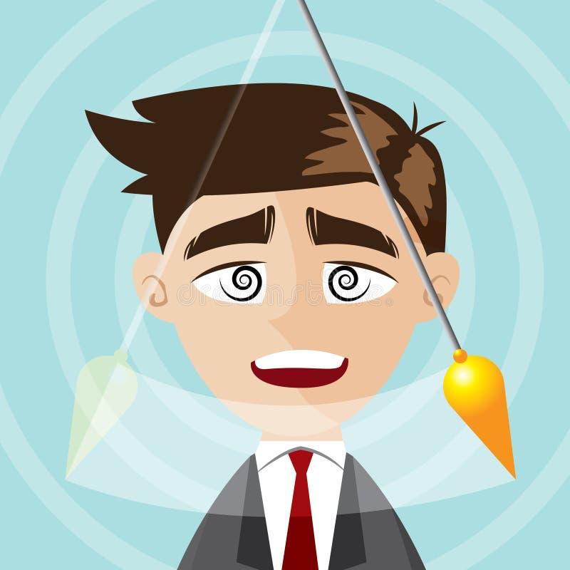 Uomo d'affari del fumetto ipnotizzato illustrazione di stock