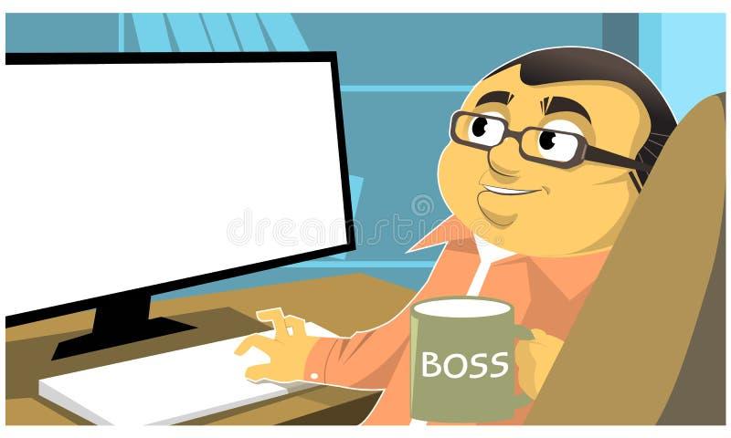 Uomo d'affari del fumetto in vestito che si siede allo scrittorio e che lavora al computer, visualizzazione posteriore illustrazione vettoriale
