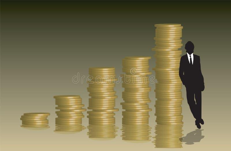 Uomo d'affari del grafico delle monete royalty illustrazione gratis