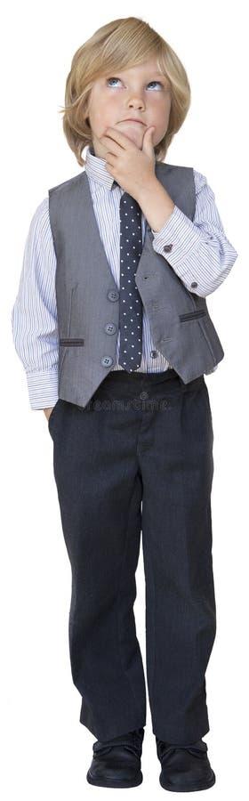Uomo d'affari del ragazzo nel pensiero fotografia stock