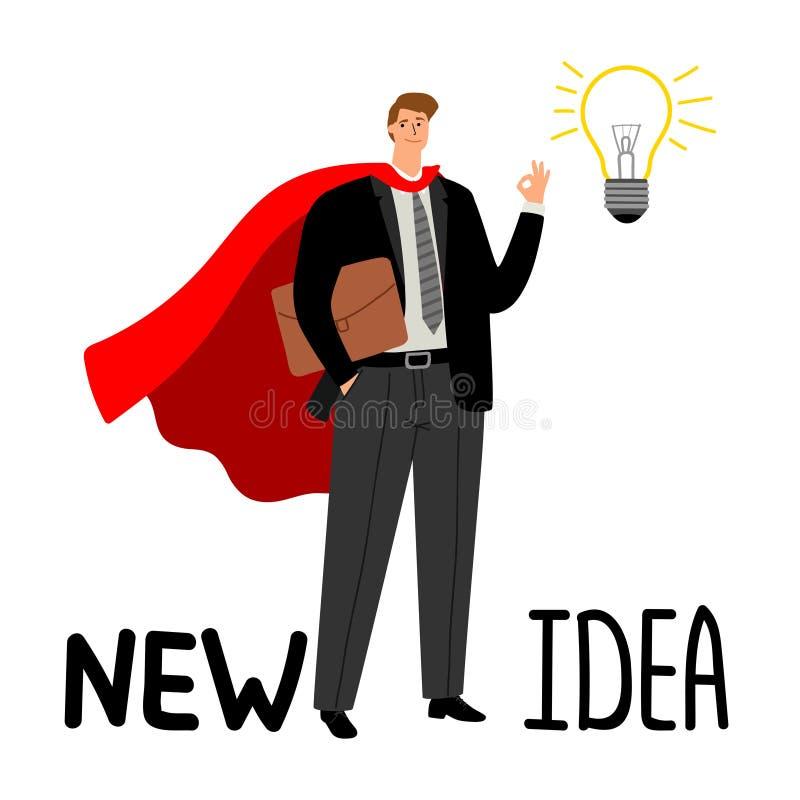 Uomo d'affari del supereroe con la lampadina illustrazione di stock