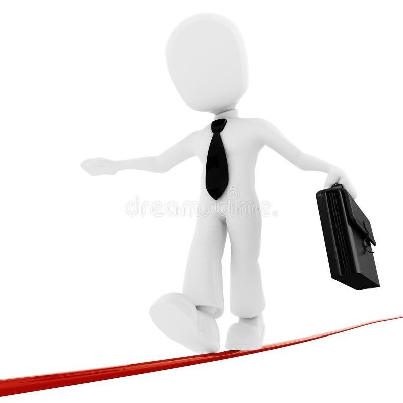 uomo d'affari dell'uomo 3d che cammina sulla riga sottile royalty illustrazione gratis
